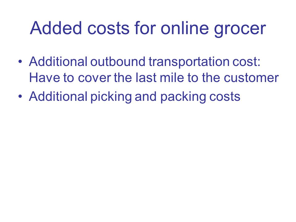 Added costs for online grocer