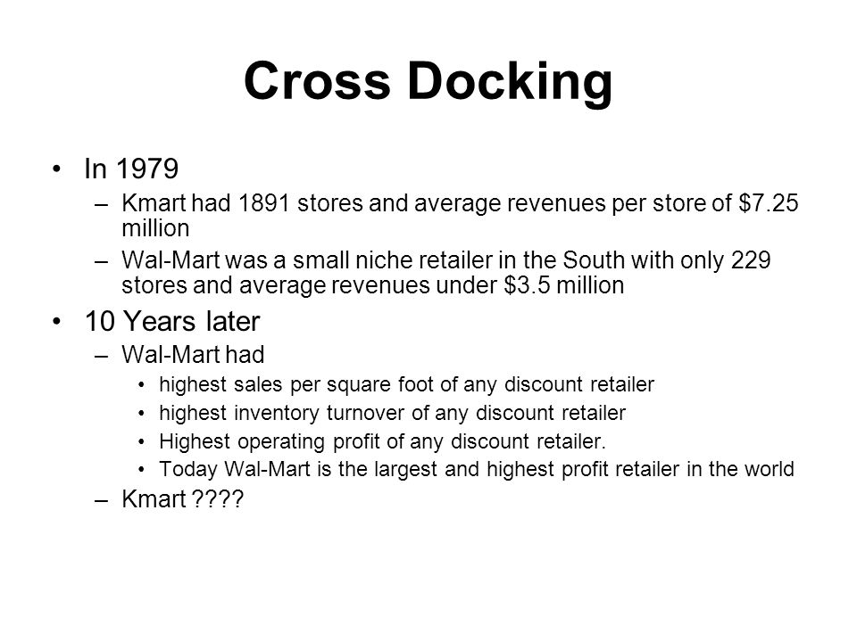 Cross Docking In 1979 10 Years later