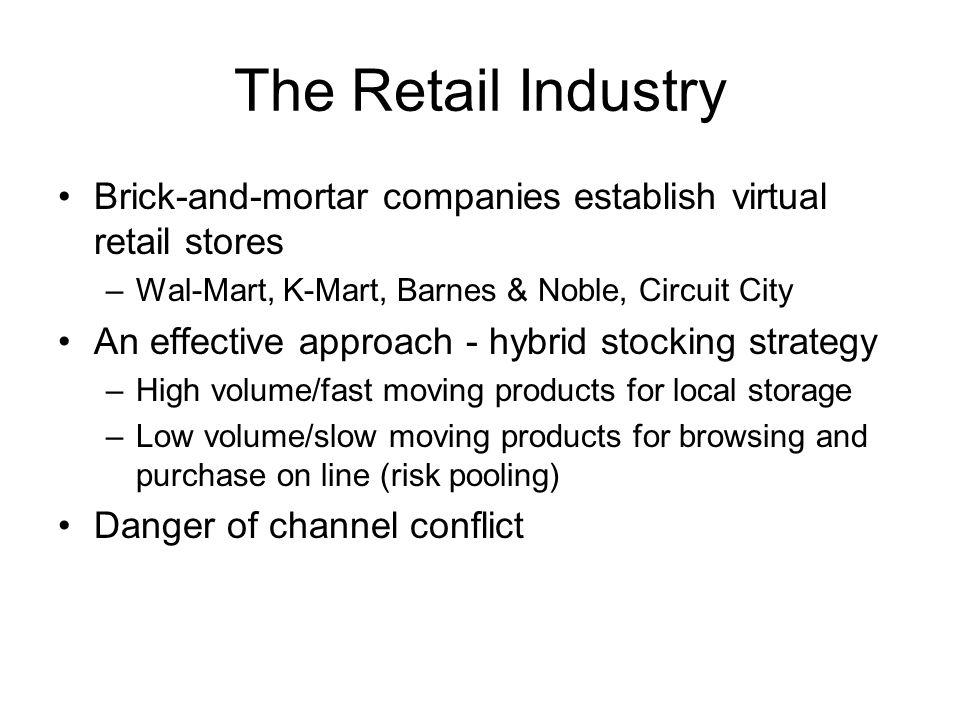 The Retail Industry Brick-and-mortar companies establish virtual retail stores. Wal-Mart, K-Mart, Barnes & Noble, Circuit City.