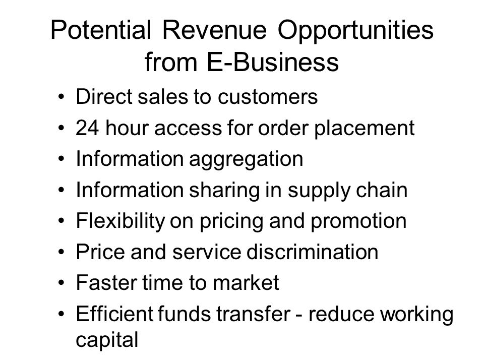 Potential Revenue Opportunities from E-Business