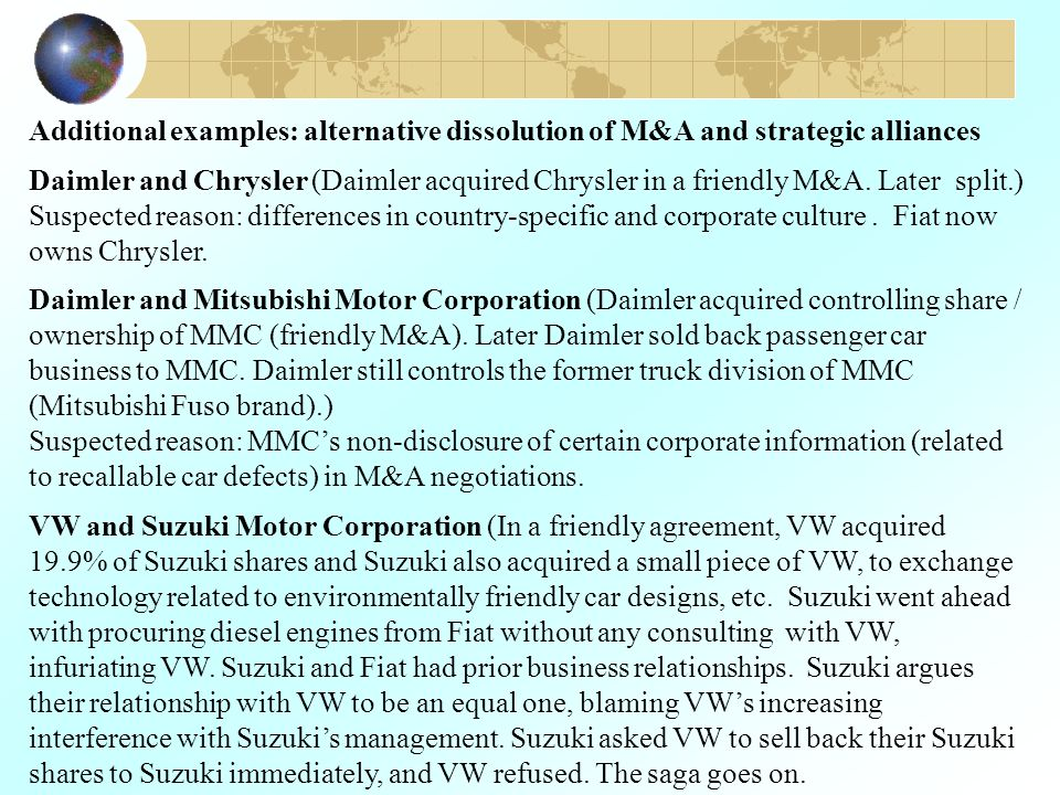 Additional examples: alternative dissolution of M&A and strategic alliances