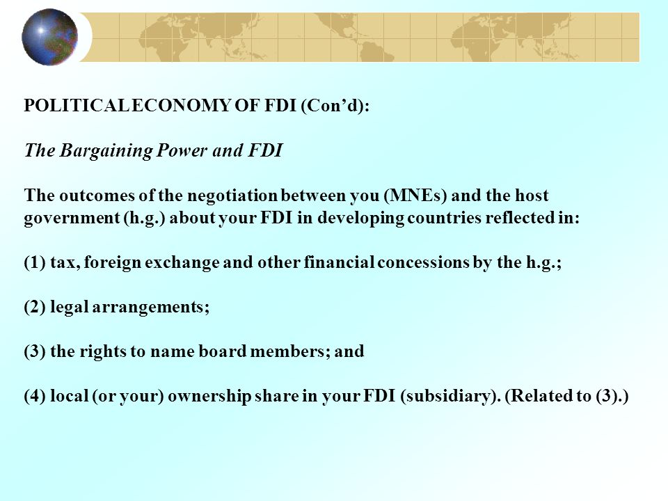 The Bargaining Power and FDI