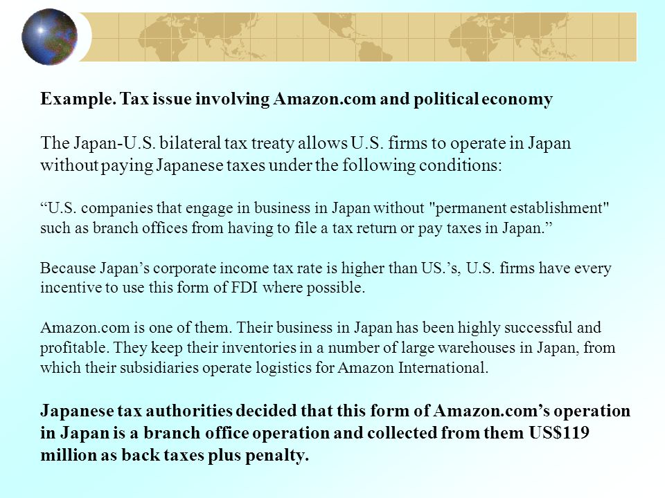 Example. Tax issue involving Amazon.com and political economy