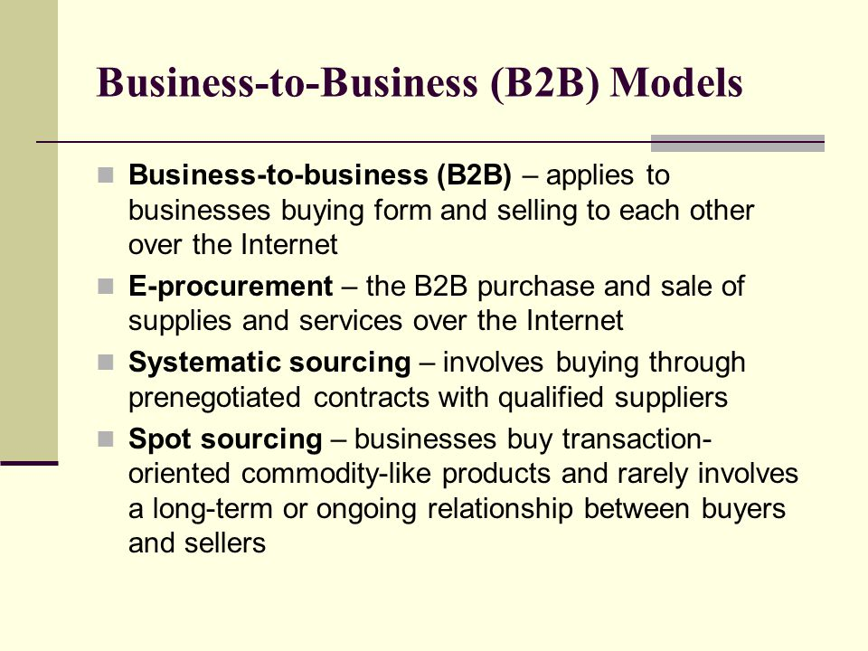 Business-to-Business (B2B) Models