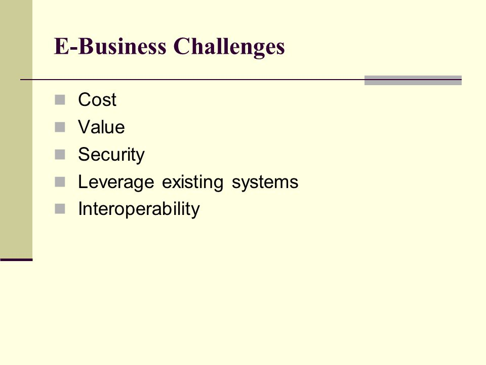 E-Business Challenges