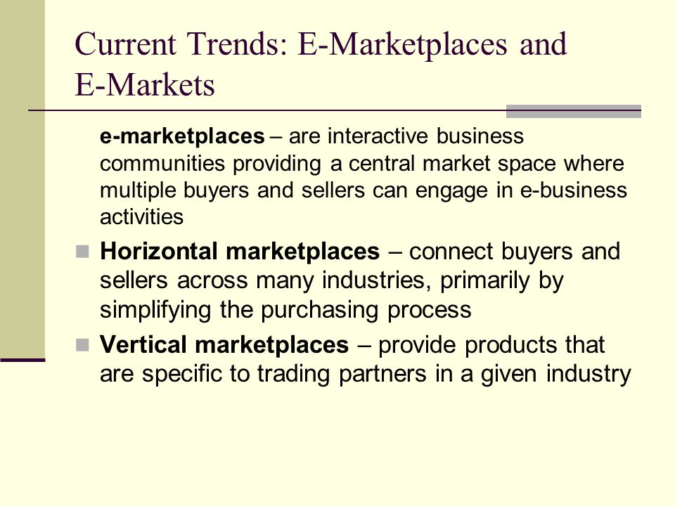 Current Trends: E-Marketplaces and E-Markets