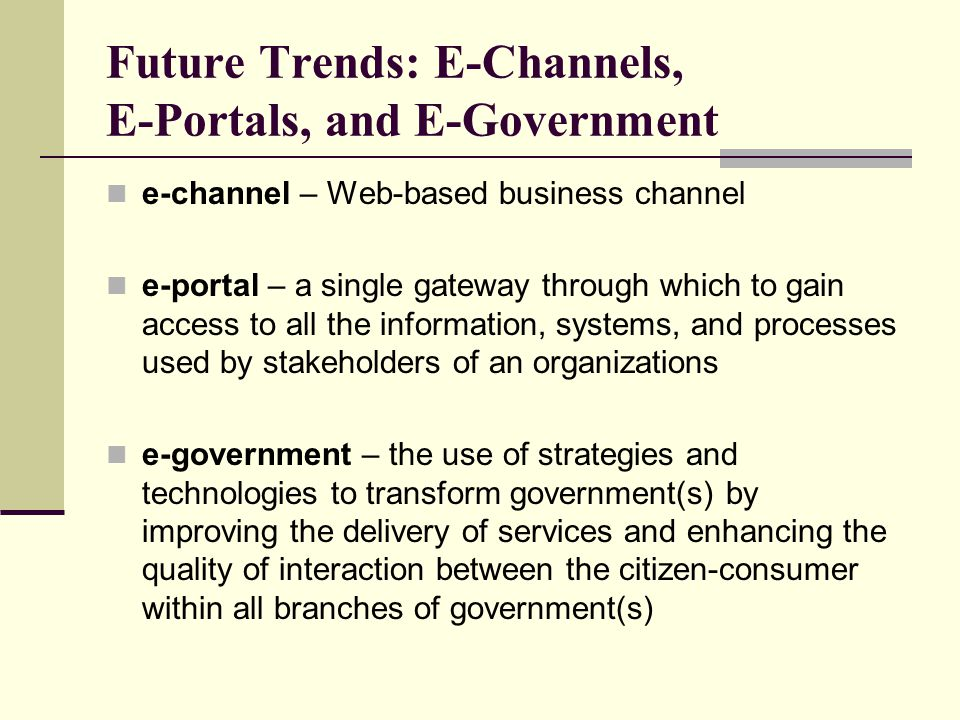 Future Trends: E-Channels, E-Portals, and E-Government
