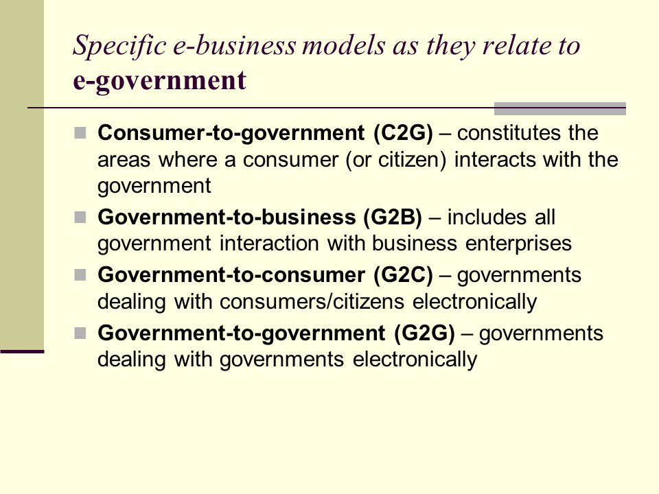 Specific e-business models as they relate to e-government