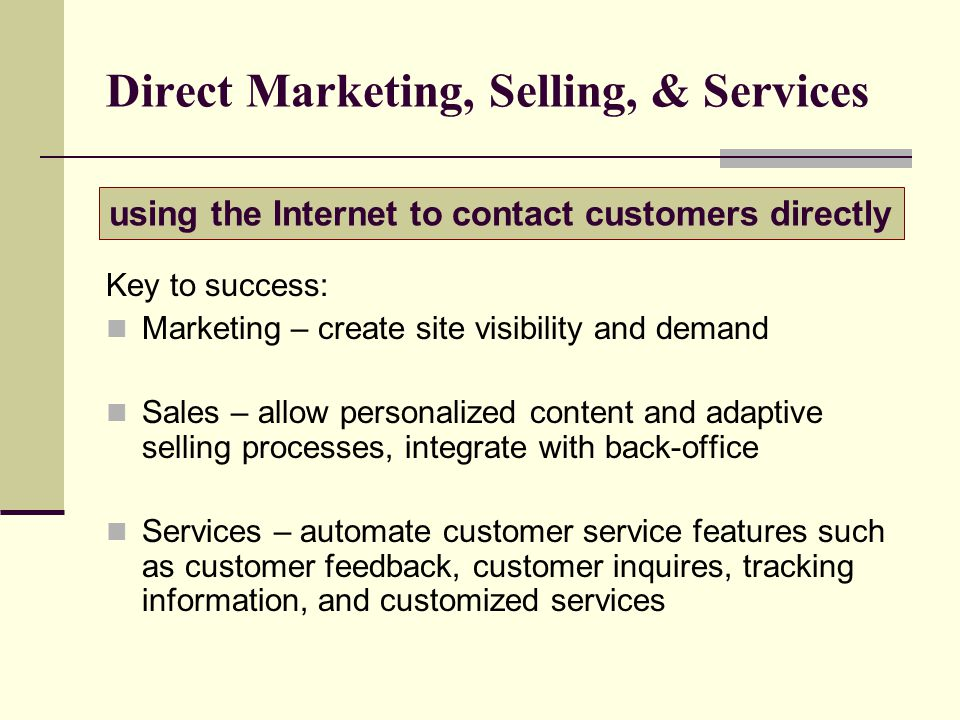 Direct Marketing, Selling, & Services