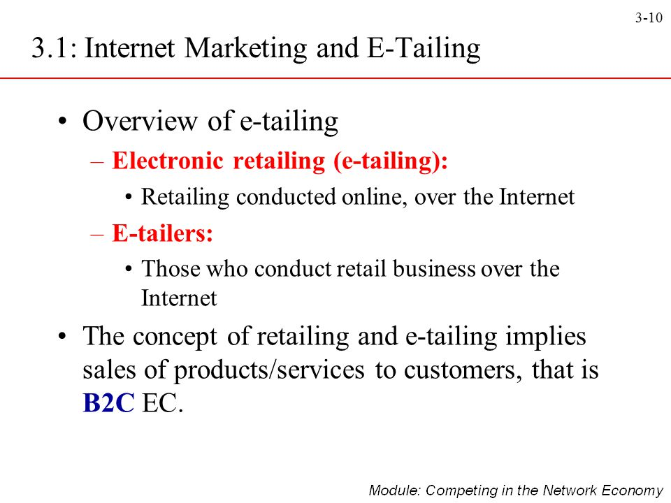 3.1: Internet Marketing and E-Tailing