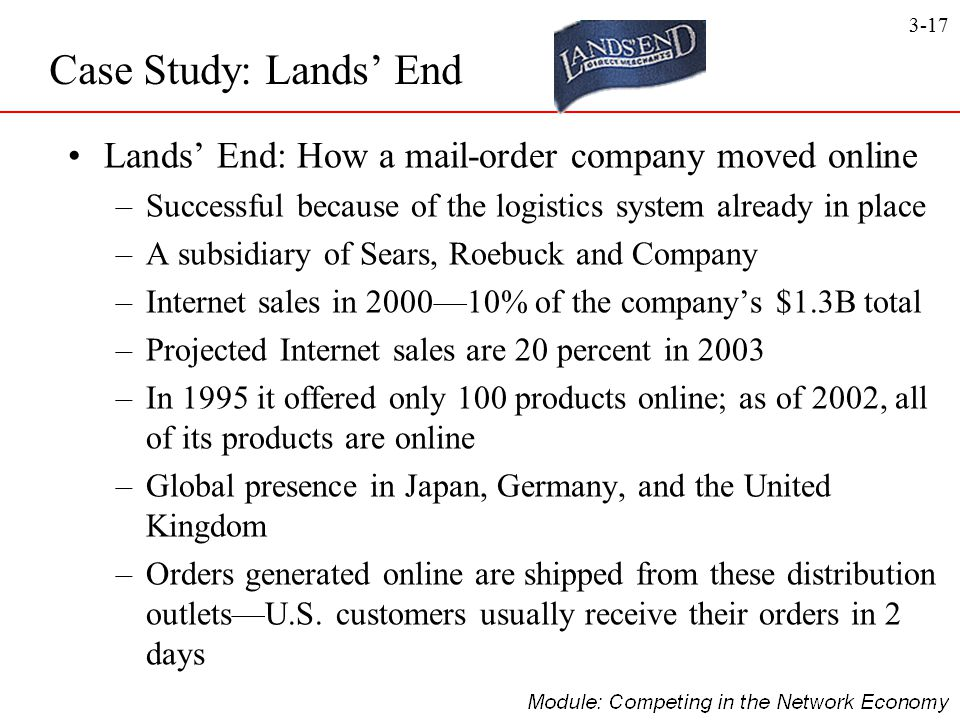 Case Study: Lands' End Lands' End: How a mail-order company moved online. Successful because of the logistics system already in place.