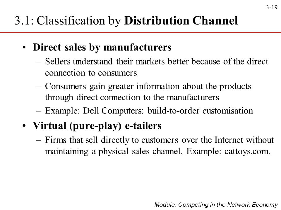 3.1: Classification by Distribution Channel