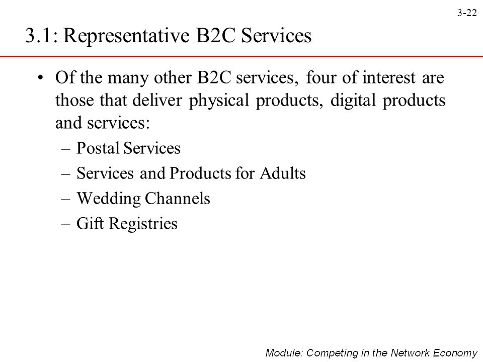 3.1: Representative B2C Services