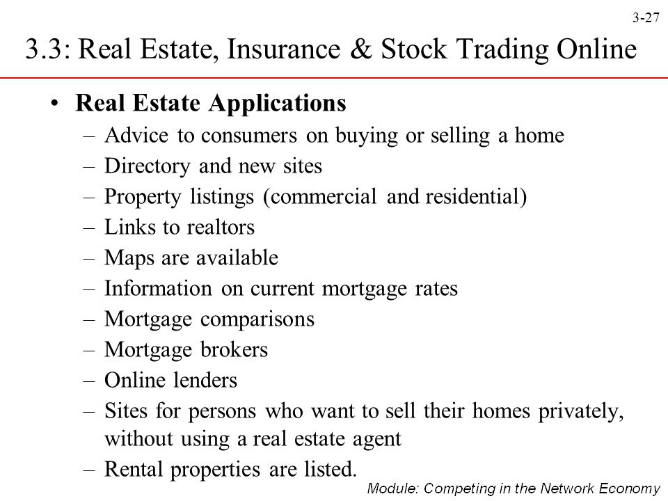 3.3: Real Estate, Insurance & Stock Trading Online