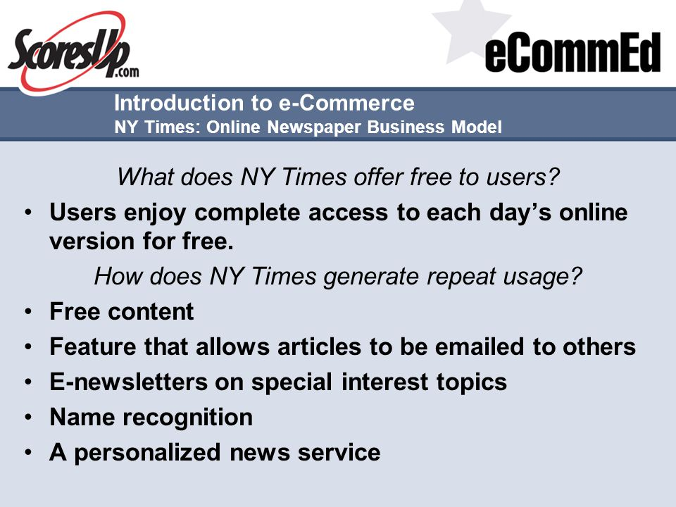 Introduction to e-Commerce NY Times: Online Newspaper Business Model
