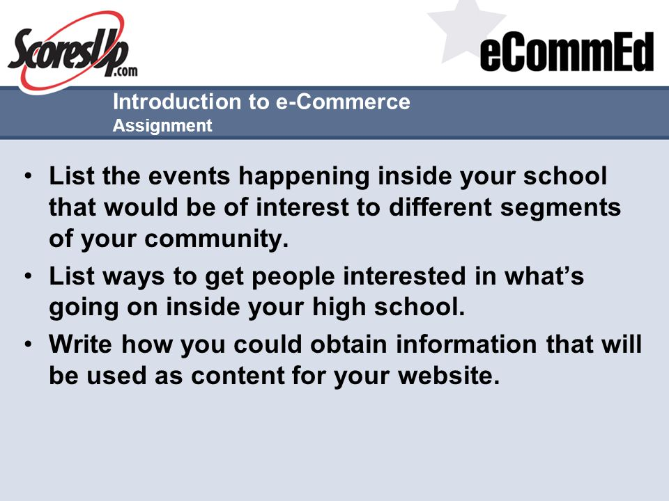Introduction to e-Commerce Assignment