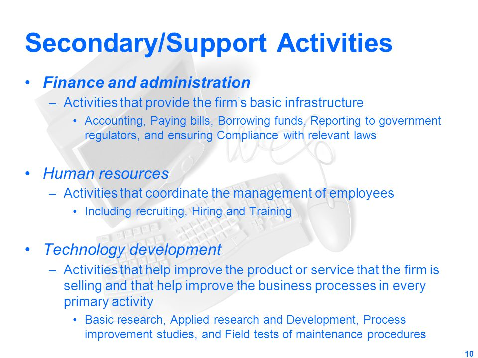 Secondary/Support Activities