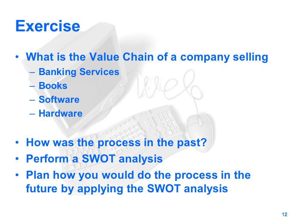 Exercise What is the Value Chain of a company selling