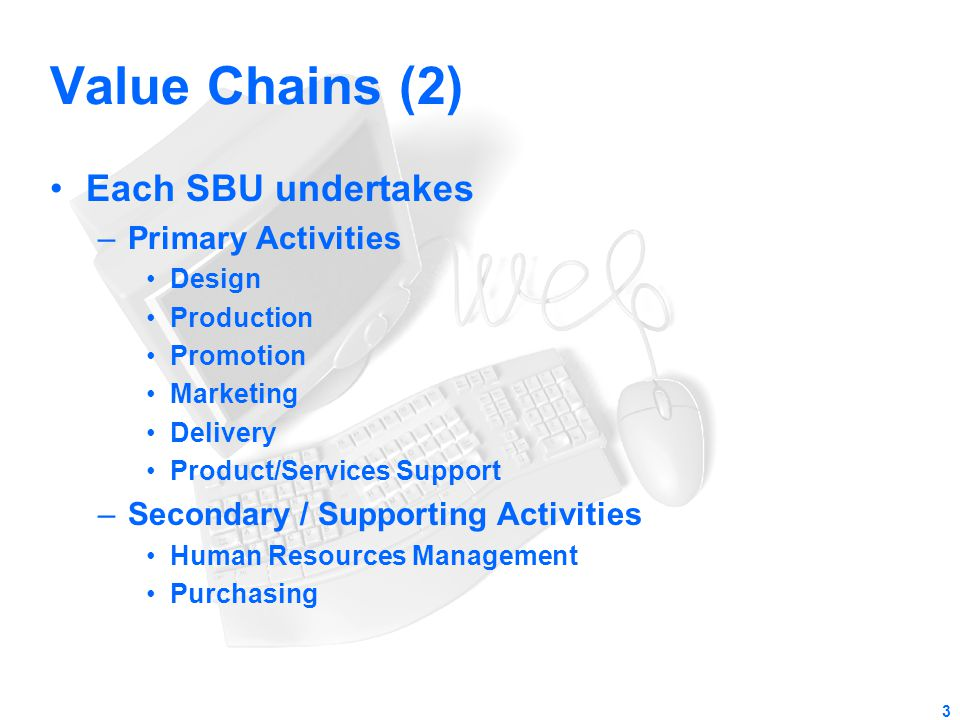 Value Chains (2) Each SBU undertakes Primary Activities