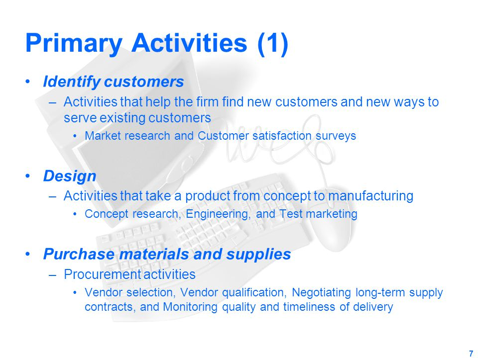Primary Activities (1) Identify customers Design