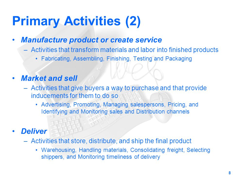 Primary Activities (2) Manufacture product or create service