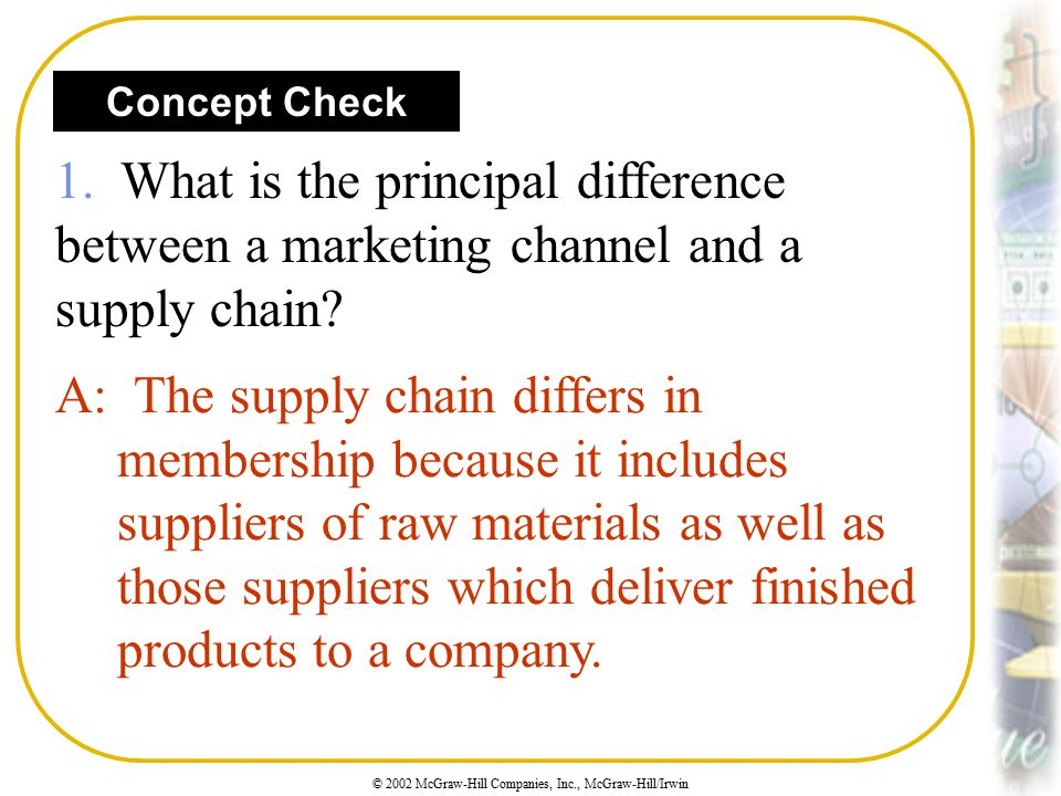 Concept Check 1. What is the principal difference between a marketing channel and a supply chain