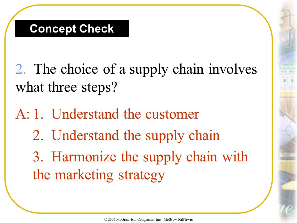 2. The choice of a supply chain involves what three steps