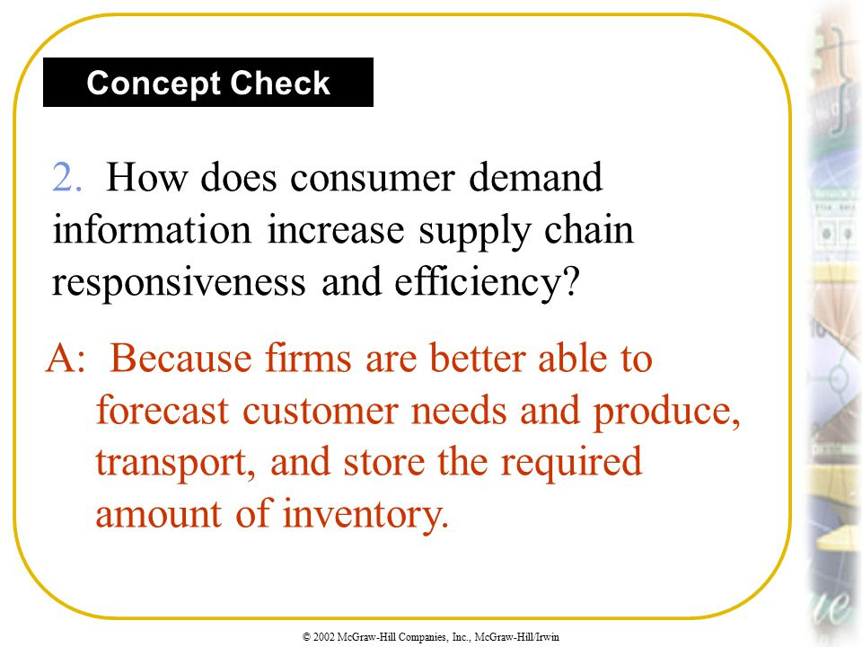 Concept Check 2. How does consumer demand information increase supply chain responsiveness and efficiency