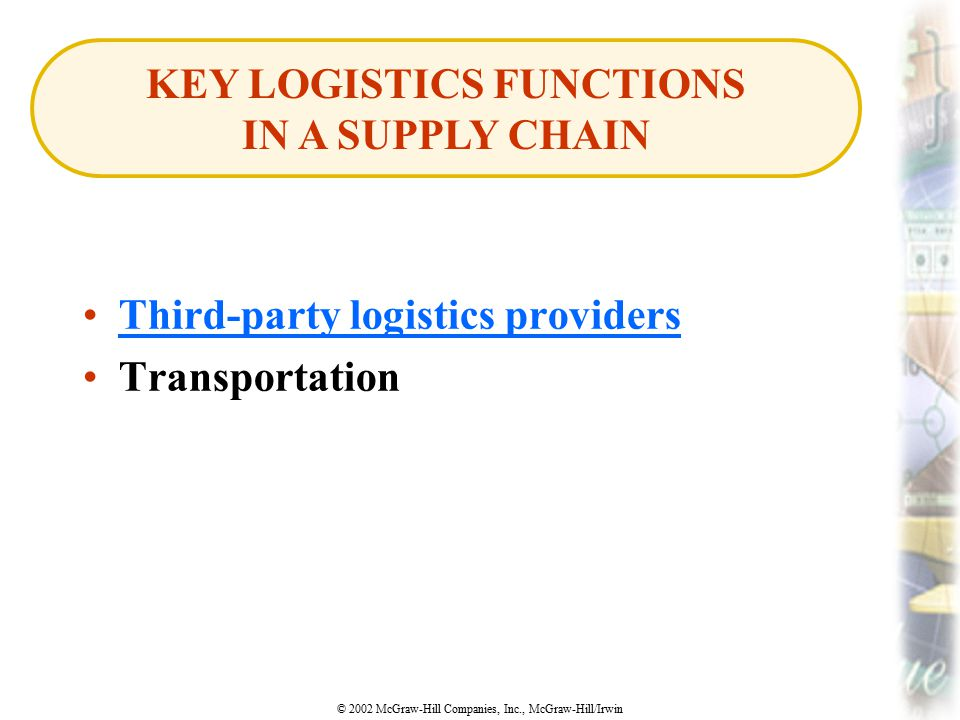 KEY LOGISTICS FUNCTIONS IN A SUPPLY CHAIN