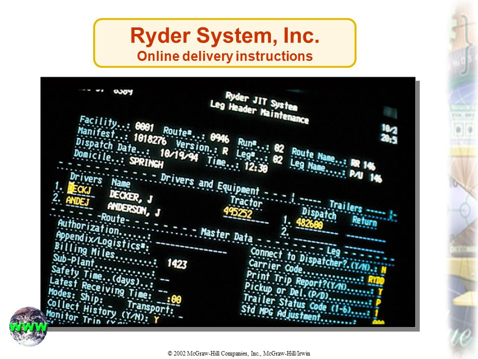 Online delivery instructions