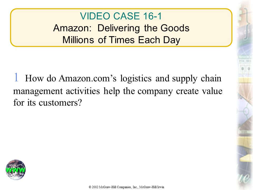 VIDEO CASE 16-1 Amazon: Delivering the Goods Millions of Times Each Day