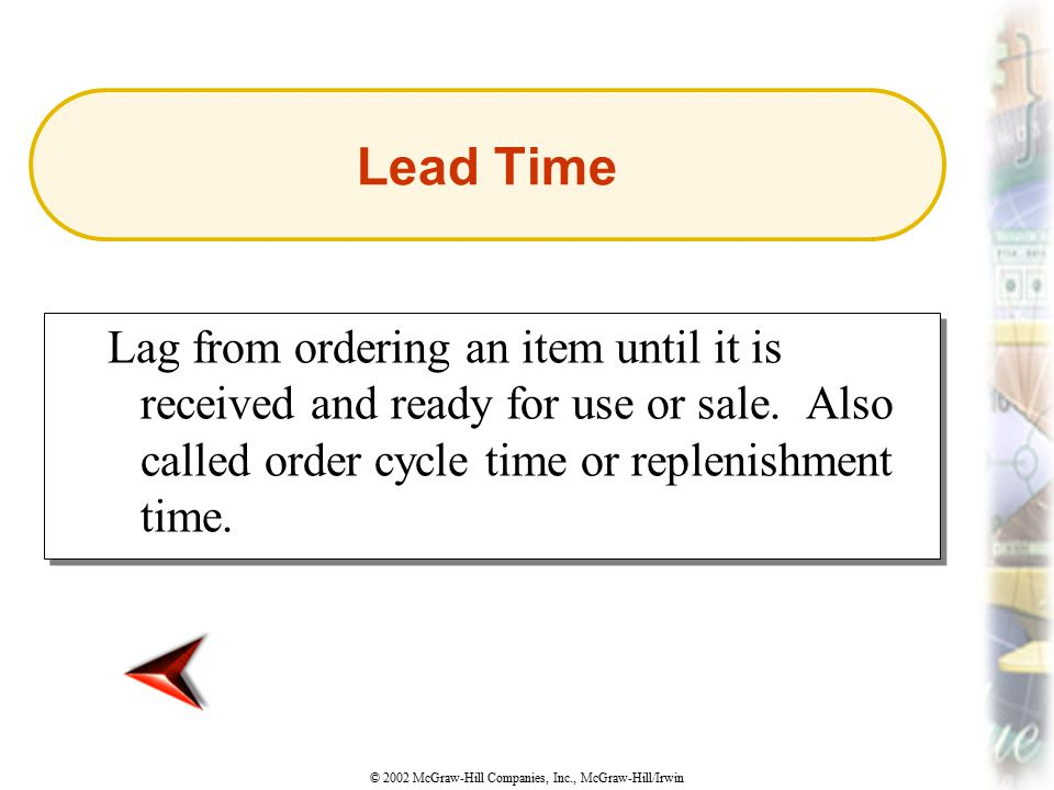 Lead Time Lag from ordering an item until it is received and ready for use or sale.