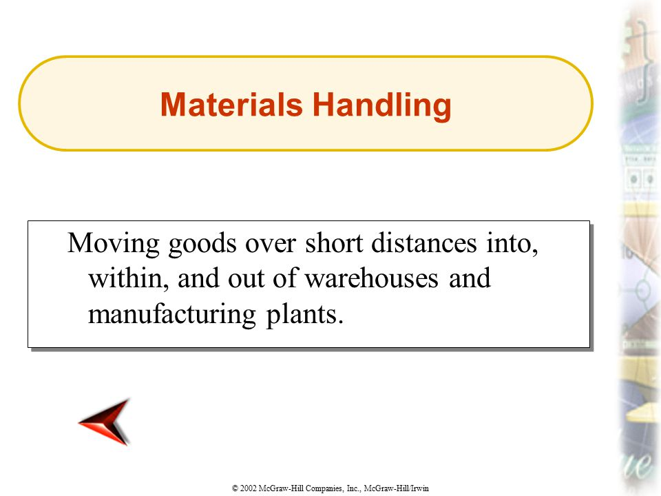 Materials Handling Moving goods over short distances into, within, and out of warehouses and manufacturing plants.