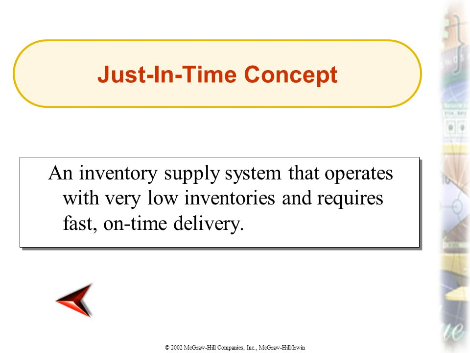 Just-In-Time Concept An inventory supply system that operates with very low inventories and requires fast, on-time delivery.