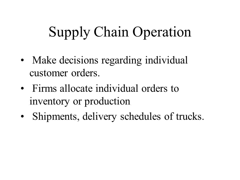 Supply Chain Operation