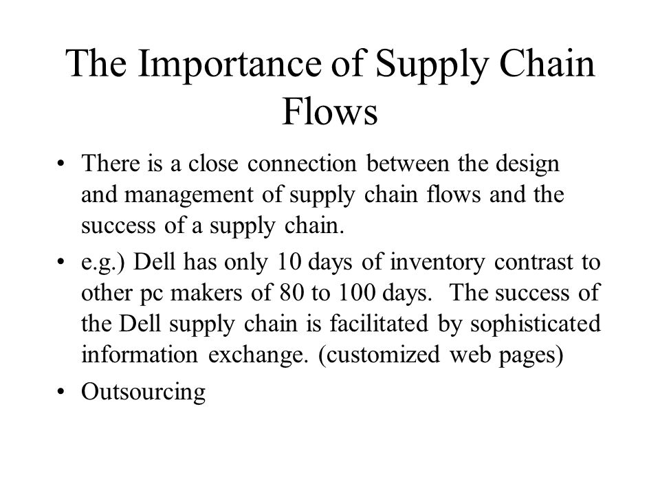 The Importance of Supply Chain Flows