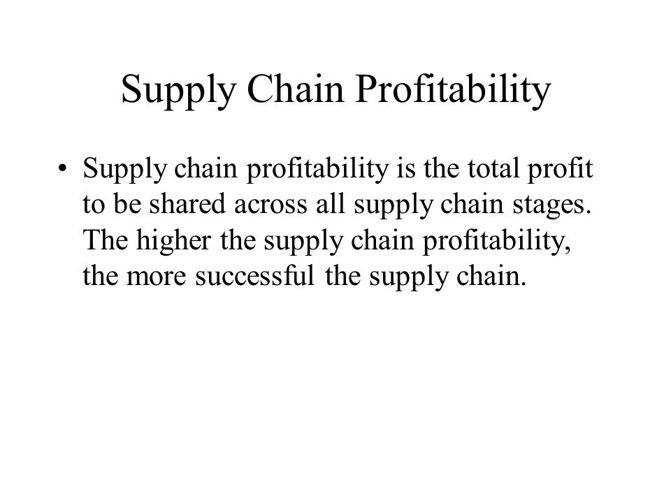 Supply Chain Profitability