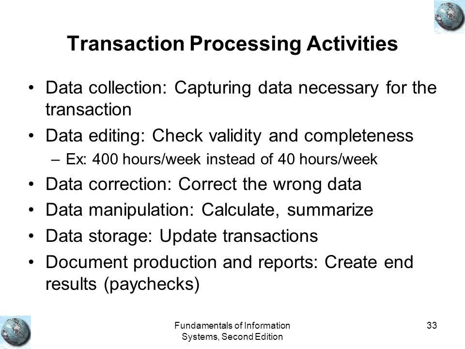 Transaction Processing Activities