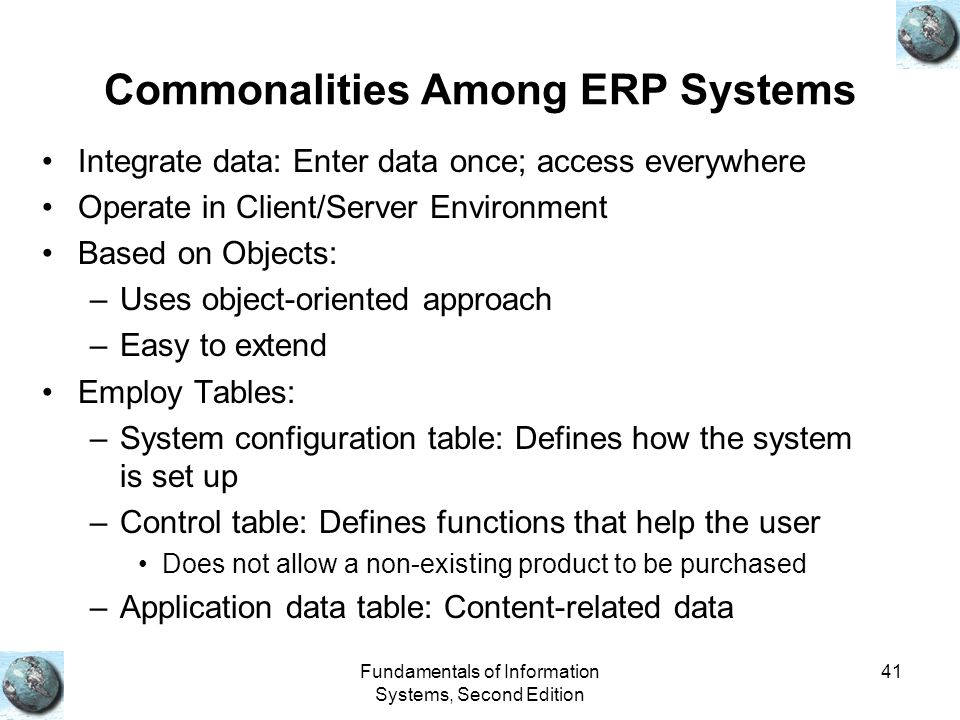 Commonalities Among ERP Systems