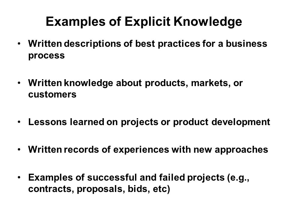 Examples of Explicit Knowledge