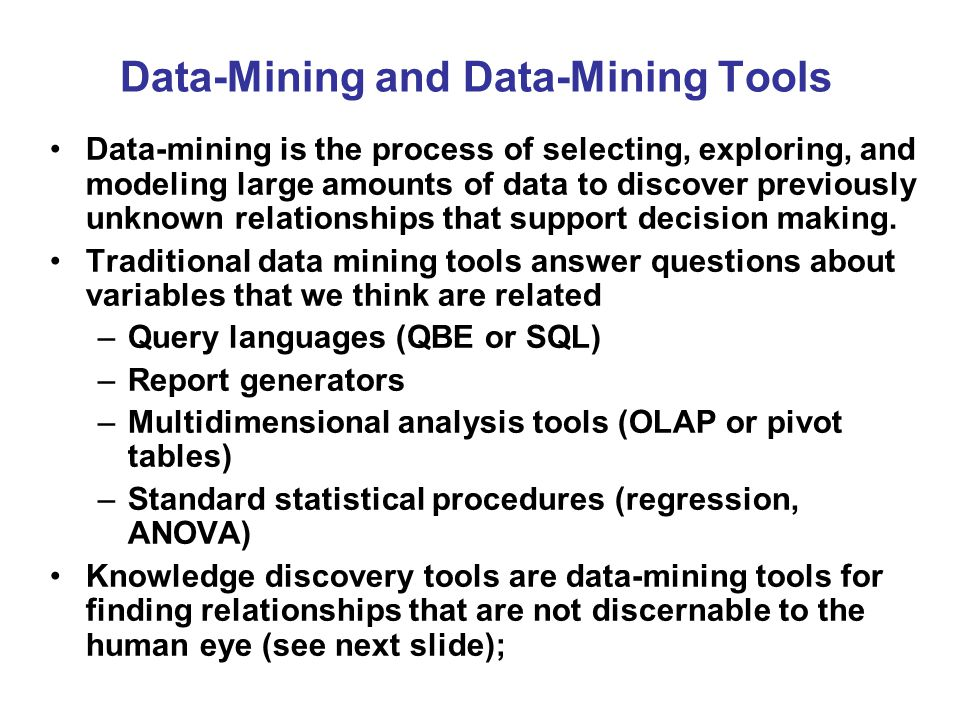 Data-Mining and Data-Mining Tools