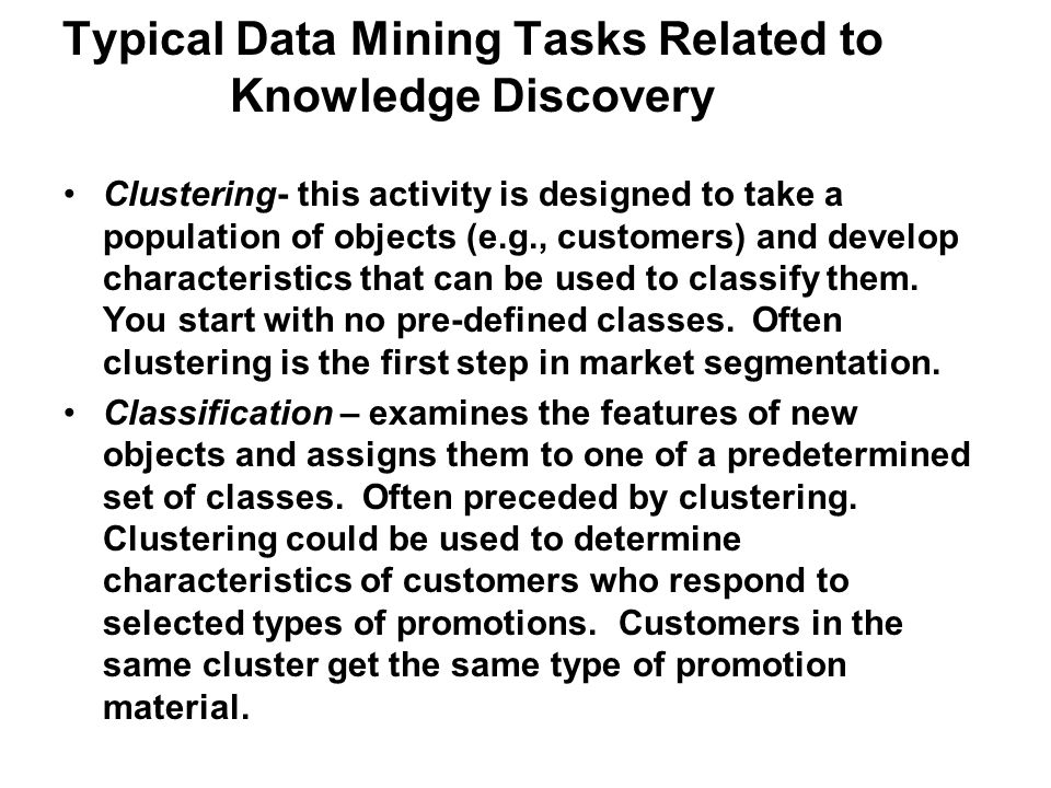 Typical Data Mining Tasks Related to Knowledge Discovery