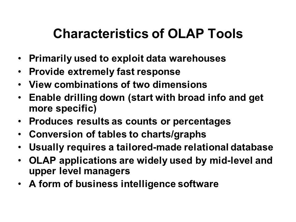 Characteristics of OLAP Tools