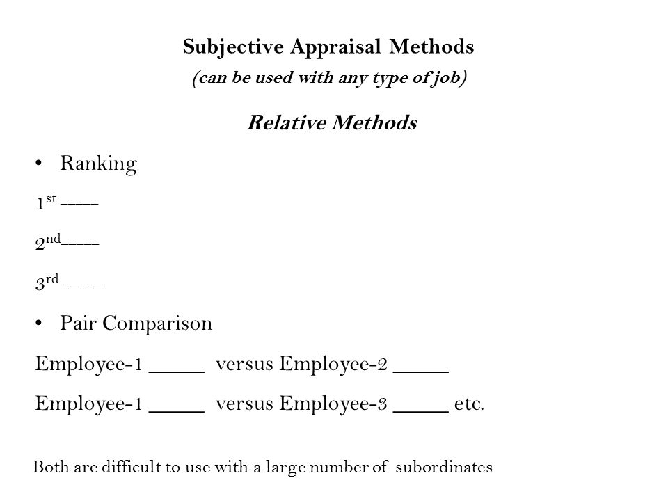 Subjective Appraisal Methods (can be used with any type of job)