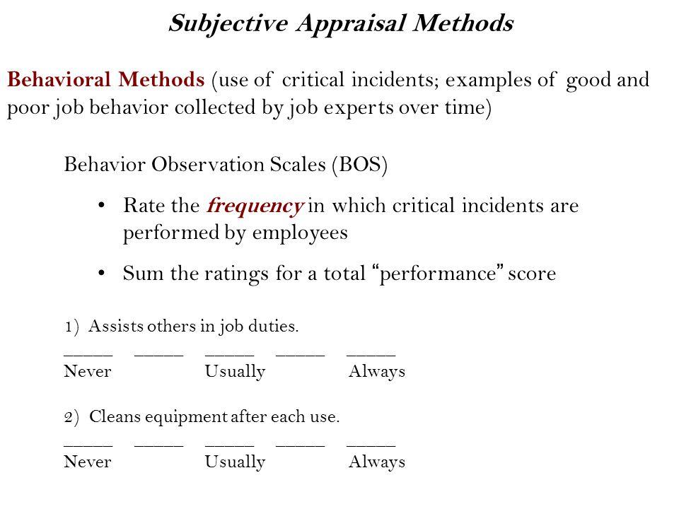Subjective Appraisal Methods