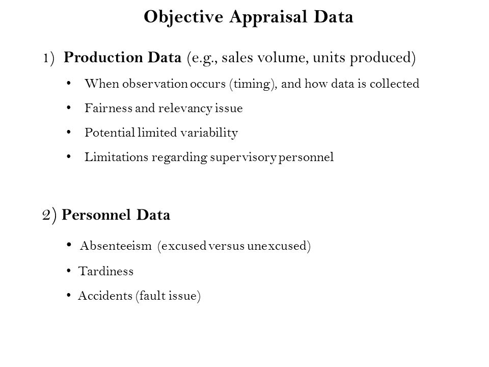 Objective Appraisal Data