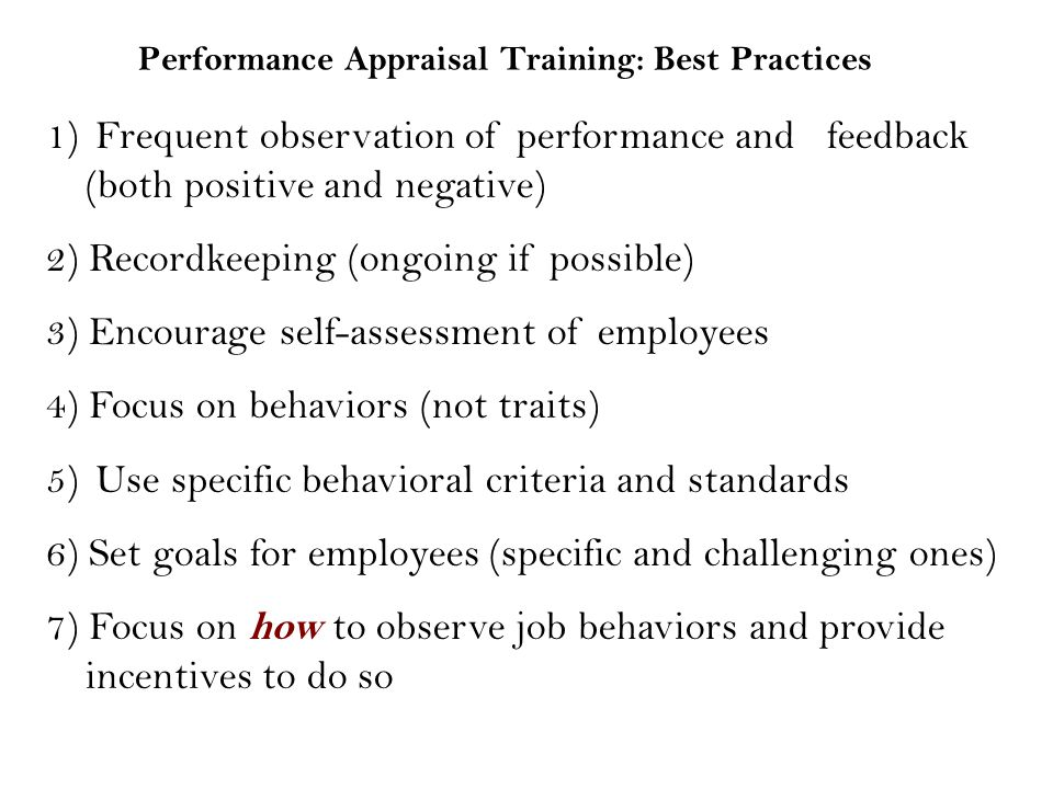 Performance Appraisal Training: Best Practices