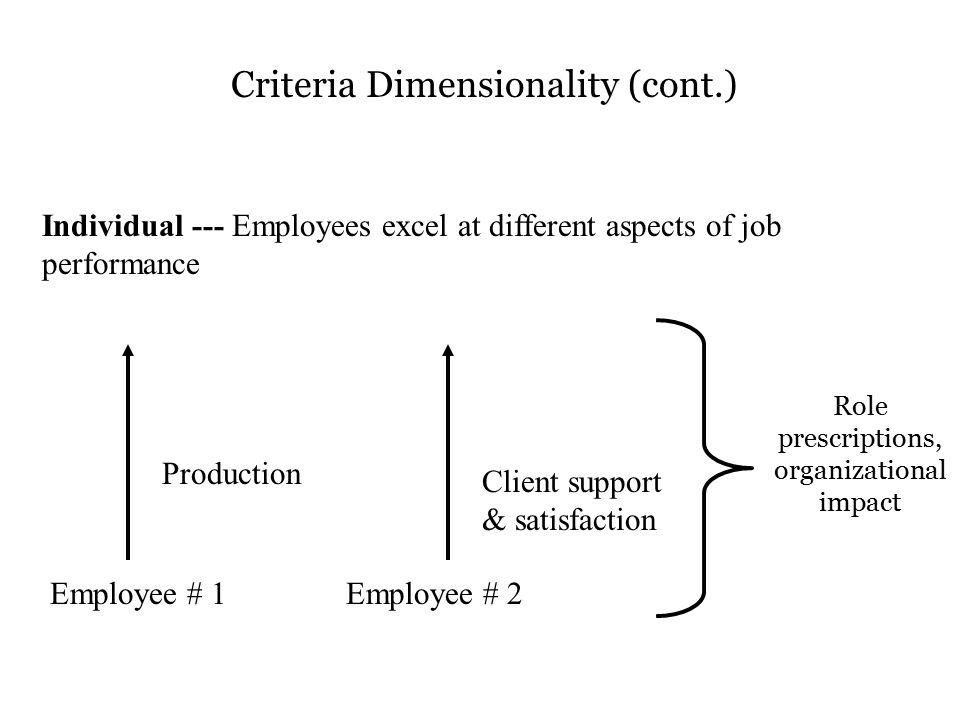 Criteria Dimensionality (cont.)