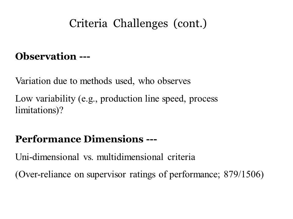 Criteria Challenges (cont.)