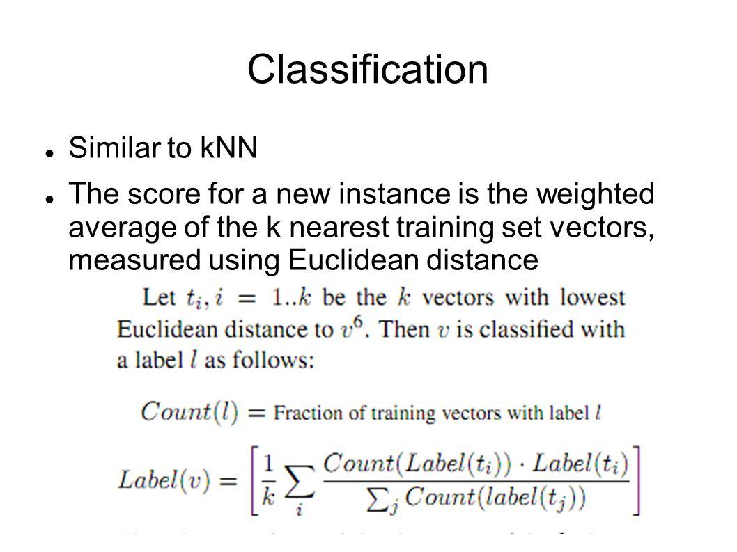 Classification Similar to kNN